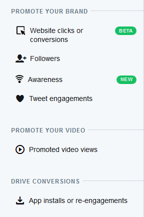 Twitter Advertising Options
