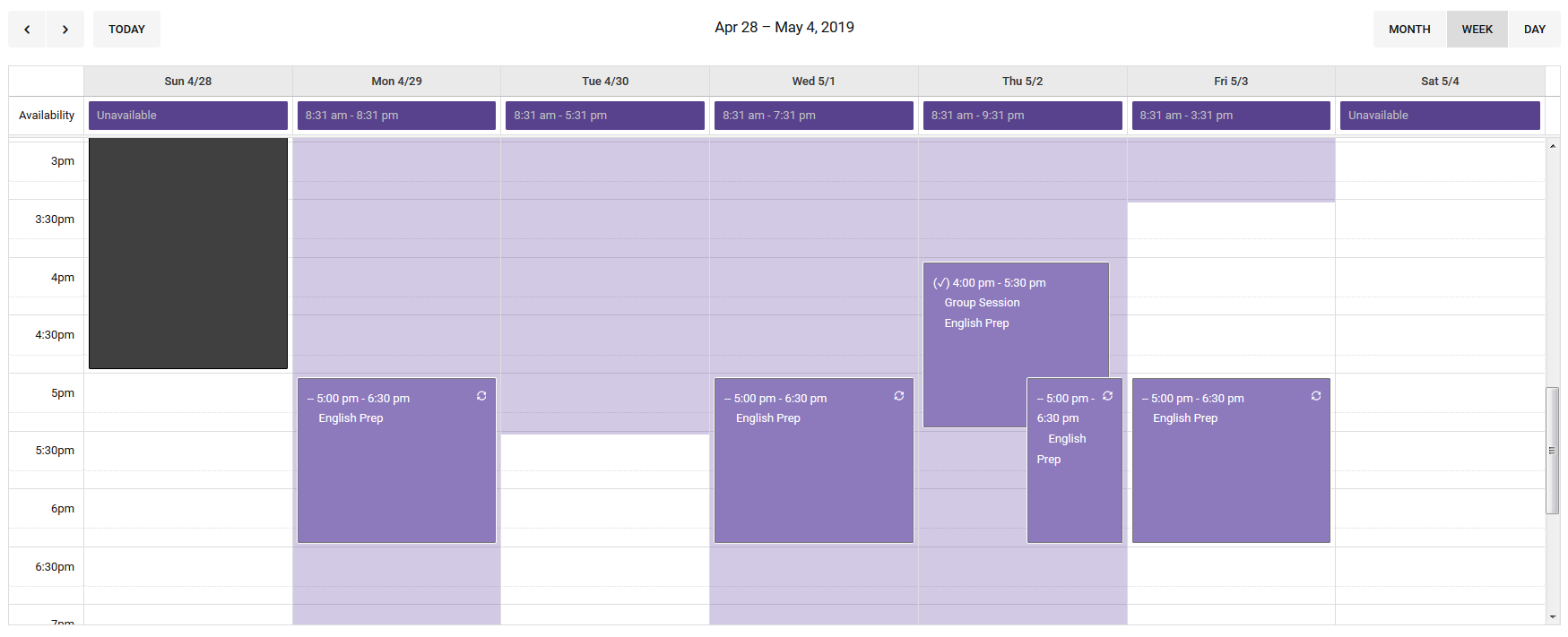 Colorful and availability scheduling image