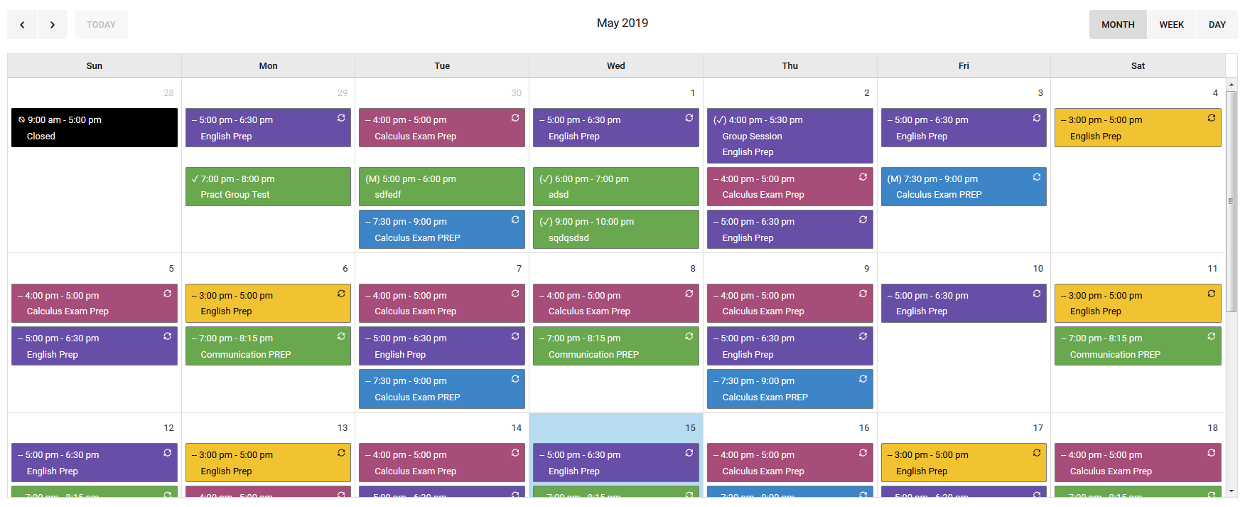 Colorful monthly appointment schedule image