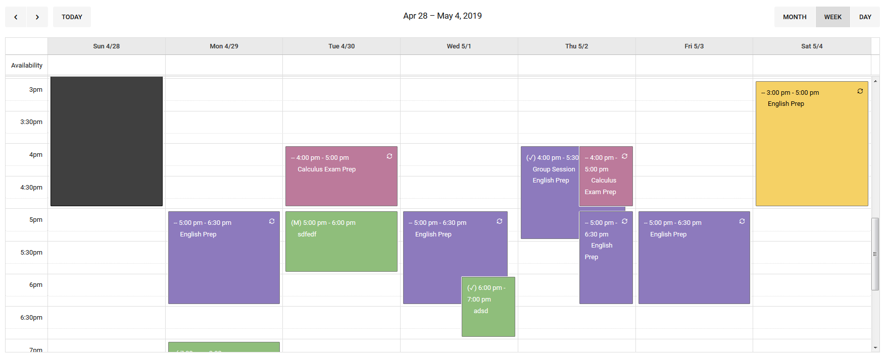Colorful weekly appointment schedule image